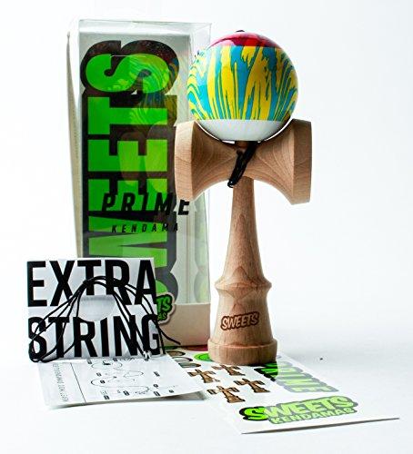 Stripe Ash Wood (Sweets Kendamas Grain Split 2.0 PRIME Kendama, Playability, Extra String & Bead (Veggie))