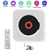 CD Player with Bluetooth - Portable CD Player Wall Mountable, Remote Control, FM Radio HiFi Speaker, Supports USB, Earphones and Phone Charging by HANPURE(White)