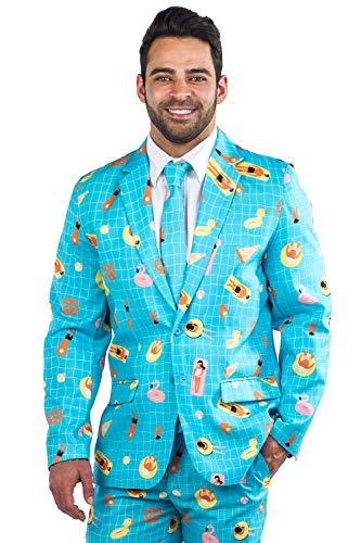 Men's Pool Party Suit Blazer with Tie - Pool Floaty Suit Jacket for Guys