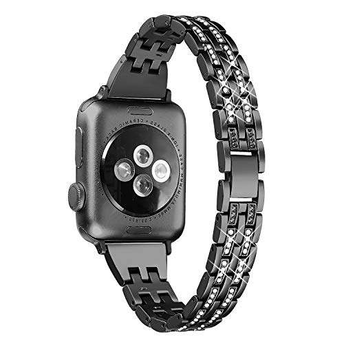 Secbolt Bling Bands Compatible Apple Watch Band 38mm 40mm iWatch Series 3, Series 2, Series 1, Diamond Rhinestone Metal Jewelry Wristband Strap, ()