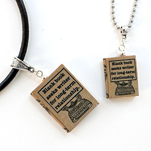 WRITER'S BLOCK Funny Clay Mini Book Pendant Necklace by Book Beads Choose Your Necklace Type