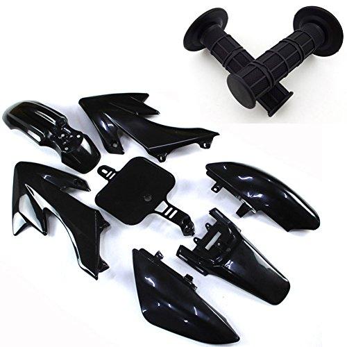 TC-Motor Black Throttle Handle Grips + Body Work Fender Plastic Fairing Kit For Honda Dirt XR50 CRF50 Chinese Pit Bike 50cc-160cc Thumpstar YCF GPX SDG SSR (Fairing Plastic Body)