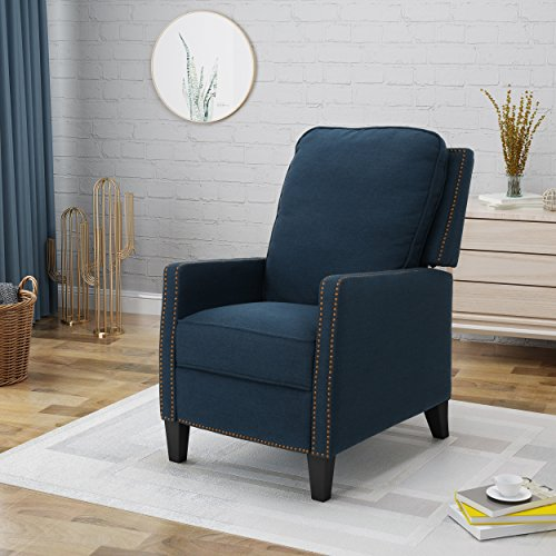 Christopher Knight Home Armstrong Recliner, Navy Blue + Dark Brown (Chair Navy Blue Recliner)