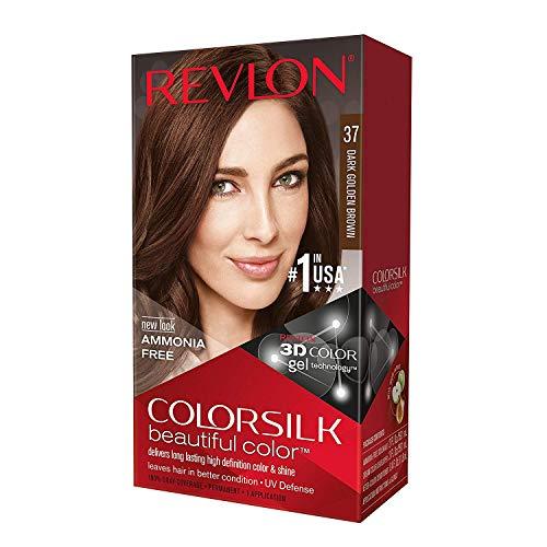 Revlon ColorSilk Beautiful Color Permanent Color 37 Dark Golden Brown, Pack of 2