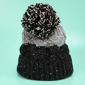 WHPSTZ Big Ball Color Matching Twist Wool Hat Female Winter Plus Velvet Thick Cute Knit Hat Women's Wool Cap (Color : Gray)