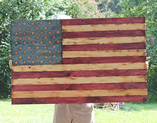 weewen Wood American Flag Rustic American Flag Military Gift Man Cave Pallet Wood Flag Americana Decor Patriotic Decor Flag Wood Flag Handmade Wooden Hanging Sign Plaque