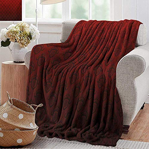 - PearlRolan Cool Blanket,Maroon,Baroque Art Emblem Figures Venetian Style Royal Ancient Theme Renaissance Inspired,Maroon Black,300GSM,Super Soft and Warm,Durable Throw Blanket 35