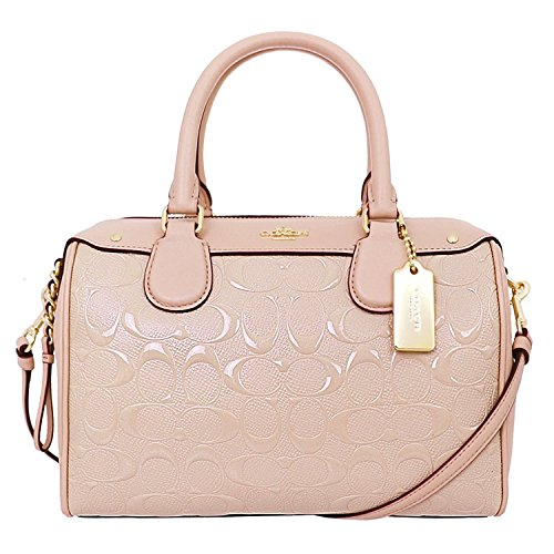 Light Mini Patent Satchel Signature Crossbody Debossed Gold Platinum Coach Bennett qBtpw40