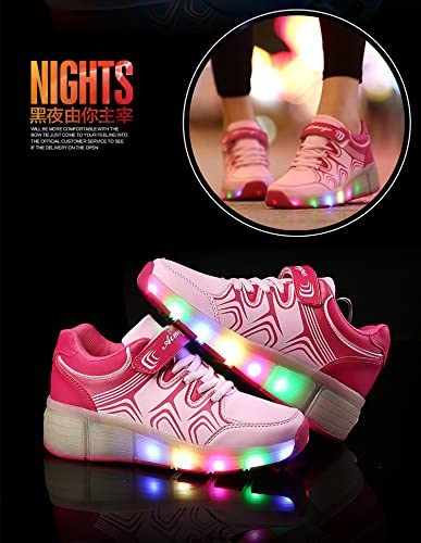 Christmas Kid Youth Girl Boy Light Up Wheels Roller Shoes Skates Sneakers Birthday Gift Pink White