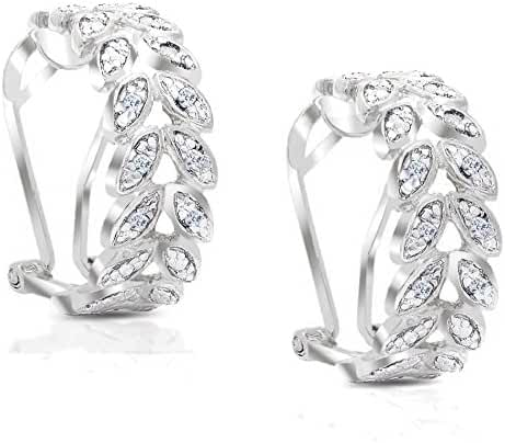 Lumineux Diamond Womens 18K Gold and Sterling Silver Plated Diamond Accent Olive Branch Earrings