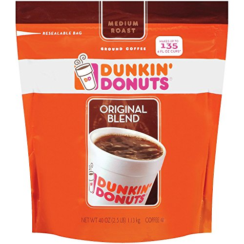 Dunkin' Donuts Original Medium Roast Blend Coffee, 1Pack (40oz Each)