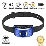 Bark Collar [2018 Smart Chip] Dog Shock Anti-Barking Collar with Beep, Vibration and Harmless Shock Rechargeable No Bark Control for Medium/Large Dogs
