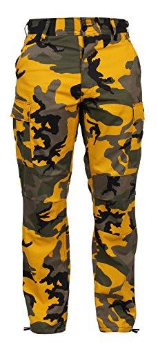 Camo Army Cargo Bdu Shorts - Rothco Color Camo Tactical BDU Pant, Stinger Yellow Camo, XS