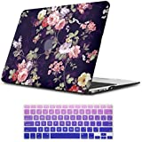 iLeadon Macbook Air 11 inch Protective Hard Case Rubber Coated Ultra Thin Shell Cover+Keyboard Cover For MacBook Air 11 inch Model A1370/A1465 (Macbook Air 11 Inch, Navy Blue Rose)
