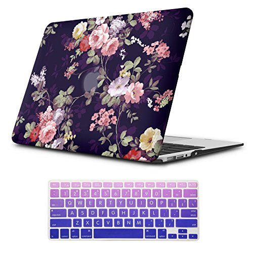 Hardshell Rubberized Cover - iLeadon Macbook Air 13 inch Protective Hard Case Rubber Coated Ultra Thin Shell Cover+Keyboard Cover For MacBook Air 13 inch Model A1369/A1466(Macbook Air 13 Inch, Navy Blue Rose)