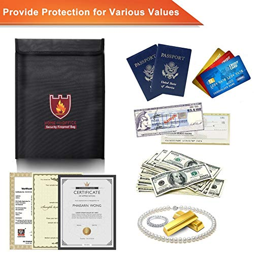 E.I.H. Security Fireproof Bag Security Fireproof Bag Document Bag Pouch Silicone Coated Money Cash & Envelope Holder Zipper Storage Bag for Home & Office