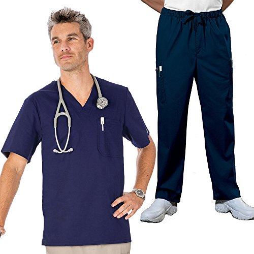 Cherokee Core Stretch Workwear Men's V-Neck Top & Utility Pant Scrub Set Medium Navy