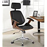 Armen Living LCCEOFCHBL Century Office Chair in Black Faux Leather and Walnut Wood, Chrome Finish
