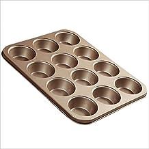 Gold 12 Cavity Muffin Cake Pan Non Stick Cast Iron Waffle Baking Pan 14inch