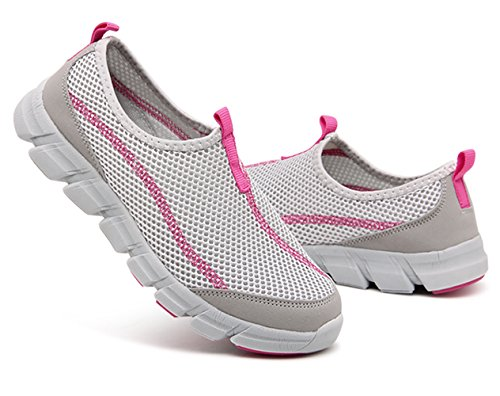 Womens Casual Ultralight Water Boat Slip On Shoes Quick Dry Mesh Sports Walking Sneakers Grey MqRF4ftj