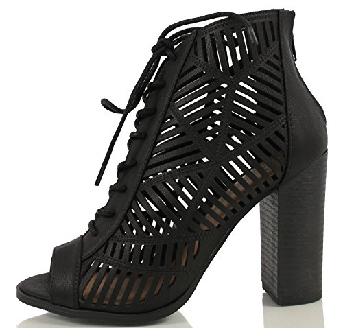 Delicious Women's Message Faux Nubuck Leather Lace Up Cutout Chunky Heels