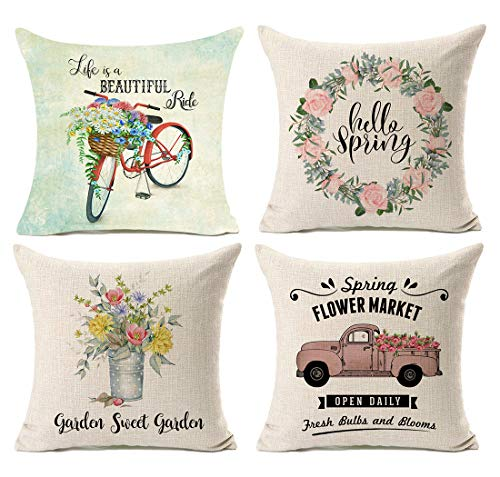 Kithomer Set of 4 Hello Spring Watercolor Bicycle Floral Retro Farmhouse Decor Throw Pillow Case Fresh Flowers Vintage Truck Cushion Cover for Sofa Couch 18 x 18 Inch Spring Home Decoration