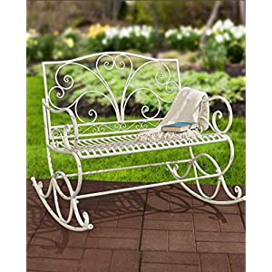 Best A Antique White Park Bench Metal In The Sun Long Patio Benches For Residential Living Room English Garden Inside Outdoors Porch Picnic Seating Hot Settee Outdoor Outside Lifetime With Back Cheap