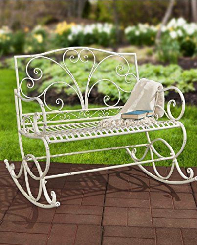 Best A Antique White Park Bench Metal In The Sun Long Patio Benches For Residential Living Room English Garden Inside Outdoors Porch Picnic Seating Hot Settee Outdoor Outside Lifetime With Back Cheap (Sets Banquette)