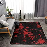 YOUNG H0ME Bedroom Livingroom Sitting-Room Big Size Area Rug Home Decor - Classic Horror Blood Splatter Black Red Floor Mat Doormats Fast Dry Toilet Bath Rug Exercise Mat Throw Rugs Carpet