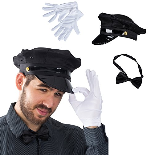 Tigerdoe Chauffeur Costume - Limo Driver Costume - Black Chauffeur Hat, Gloves & Bow Tie - (3 Piece Set)