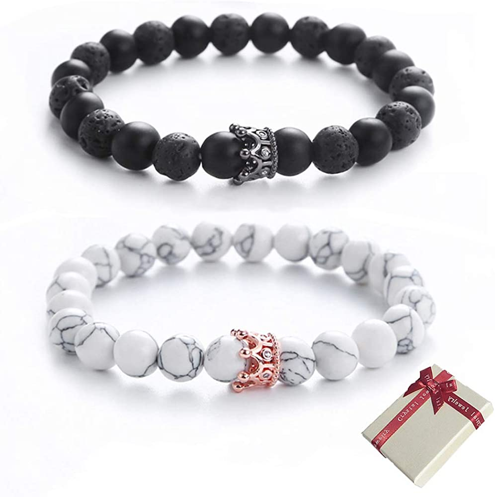 Shuxy Couples Bracelet Matching Bracelet Sets Pair Bracelet 8mm Beads Bracelet Distance Bracelets for Valentines Day Christmas Personalized Gift for Lover Matte Black Bead and Agate White Bead