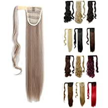 Wrap Around Synthetic Ponytail Clip in Hair Extensions One Piece Magic Paste Pony Tail Long Straight Soft Silky for Women Fashion and Beauty 23'' / 23 inch (sandy blonde mix bleach blonde)