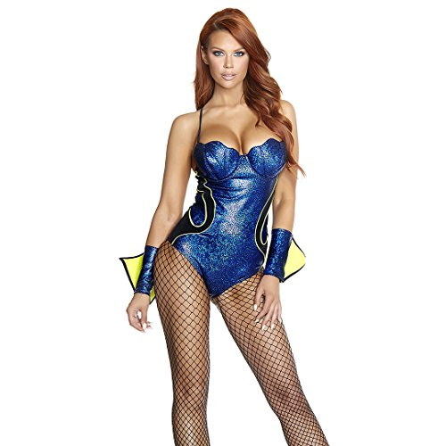 Forplay Women's Lost Sexy Fish Character Costume, Royal Blue, (Sexy Fish Costumes)