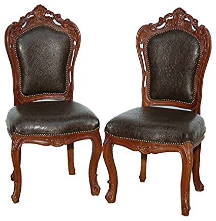 Pair Of 2 Antique Mahogany Carved Upholstered Faux Leather Side Chairs