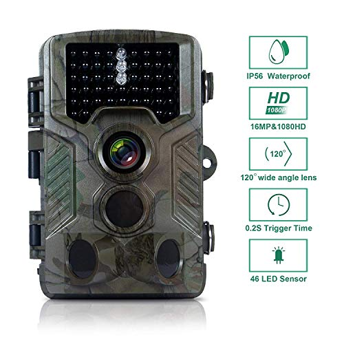 FLAGPOWER Trail Camera 16MP 1080P Hunting Game Camera with Night Vision Motion Activated IP66 Waterproof 120°Detecting Range Motion Activated Night Vision 2.4