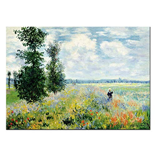 - FajerminArt Poppy Fields Giclee Canvas Prints by Monet Famous Oil Paintings Poster Canvas Paintings Wall Art Decor for Bedroom 36x48inch Unframed
