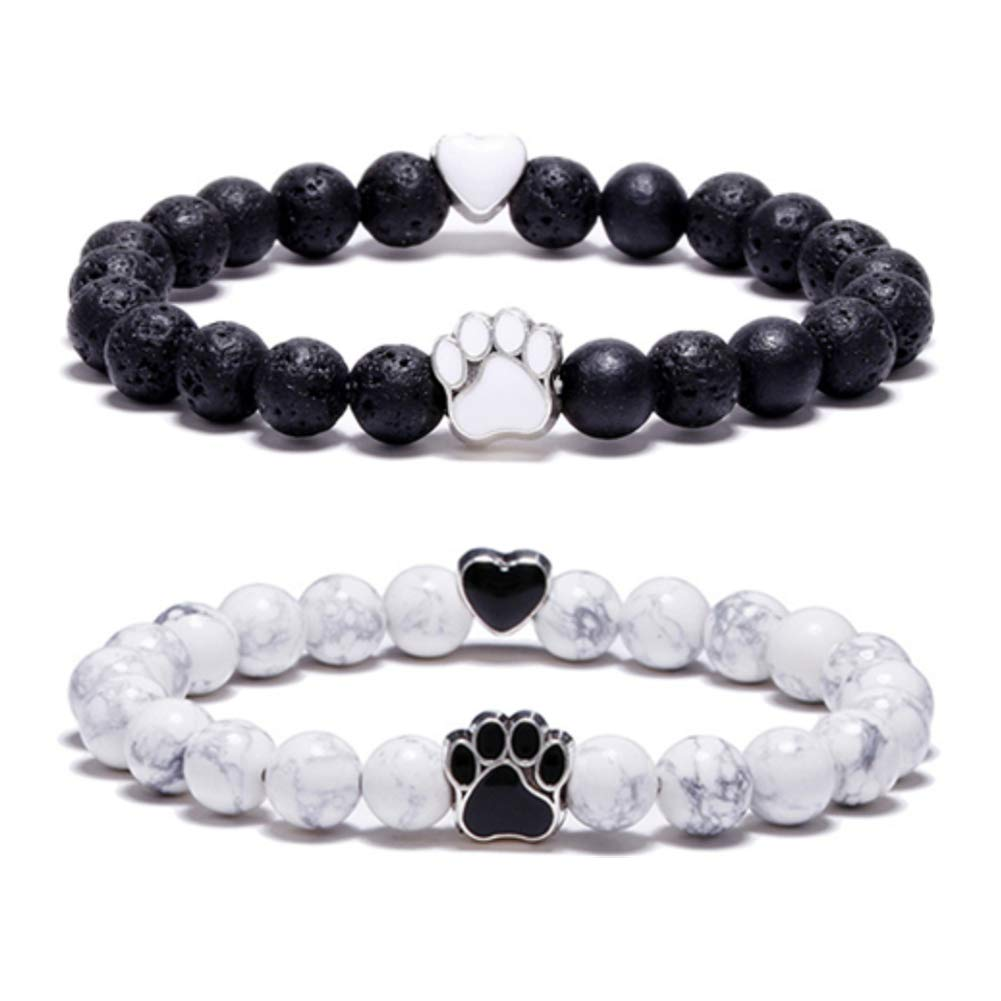 Lava Rock Stone Black Agate White Howlite Beads Bracelet Dog Paw Charm Pet Memorial Bracelet Bangle YLL BDOG-019