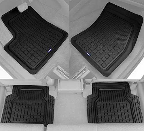 (Solid Pro Rubber Car Floor Mats - Heavy Duty Plus Liners for Auto SUV Truck Car Van - 3-Piece Set - Thick, Odorless & All Weather (Black))