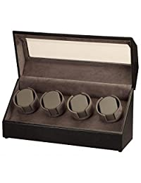Black Leather and Suede Quad Watch Winder w/ Display