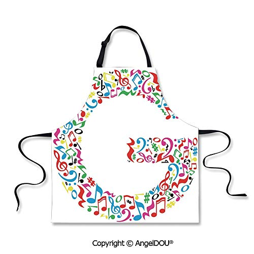 SCOXIXI Printed Unique Cool Kitchen Apron Majuscule G and Music Inspired Theme Colorful Musical Notes Alphabet Artwork Print Decorative Waterproof Aprons for Restaurant BBQ Grill.]()