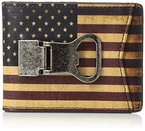 Ostrich Clip Money - Nocona Belt Co. Adult's Nocona Vintage Flag Bottle Clip Wallet, Multi/Color