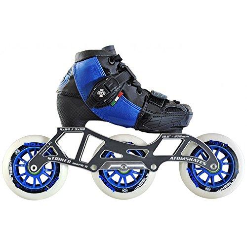 Atom Luigino Kid's Adjustable Challenge 3-Wheel or 4-Wheel Inline Speed Skate Package with Striker Frame, & Atom Matrix Wheels- 3x100 Blue Small - Frame Striker