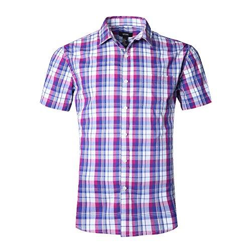 NUTEXROL Men's/Boy's Short Sleeve Plaid Shirt(Purple&Blue, (Ombre Plaid Short)