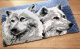 Sunny DIY Crochet Yarn Kits, 18.89''X14.56'', Needlework Kit DIY Crocheting Rug Yarn Cushion Embroidery Set , Two wolves