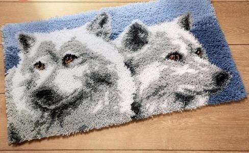 Sunny DIY Crochet Yarn Kits, 18.89''X14.56'', Needlework Kit DIY Crocheting Rug Yarn Cushion Embroidery Set , Two wolves by Sunny