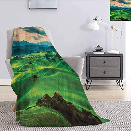 jecycleus Tuscany Children's Blanket Tuscany Spring Rolling Hills on Sunset Agriculture Farmlands Volterra Italy Lightweight Soft Warm and Comfortable W54 by L72 Inch Seafoam Green (King Of The Hill On The Simpsons)
