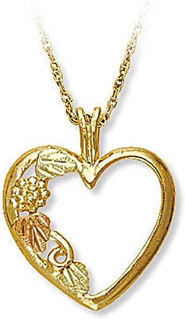 Lg Black Hills Gold Tricolor 10K12K Heart Pendant G.F Center Leaf /& Small Grape Clusters Necklace