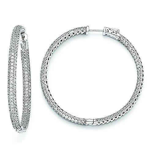 Sterling Silver 2 Inch Diameter Cz Hoop Earrings by Brilliant Embers