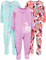 Simple Joys by Carter's Baby and Toddler Girls' 3-Pack Snug Fit Footed Cotton