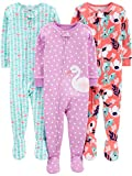 Apparel : Simple Joys by Carter's Baby and Toddler Girls' 3-Pack Snug Fit Footed Cotton Pajamas